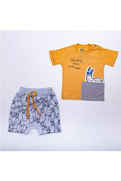 Minidon Erkek Çocuk Sarı Yandan Cepli Lama Takım