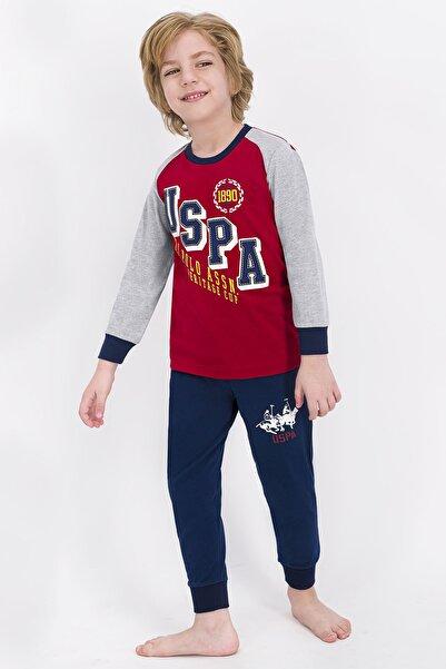U.S. Polo Assn. Erkek Çocuk Açık Bordo Lisanslı Pijama Takımı