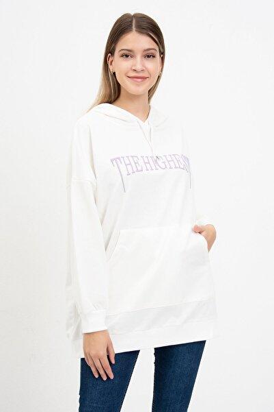 Mossta Kadın Beyaz The Hıghest Baskılı Sweatshirt