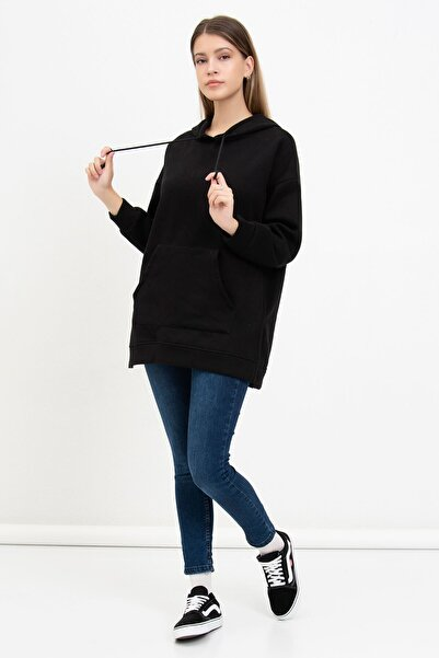 Mossta Kadın Siyah Kanguru Cepli Kapüşonlu Sweatshirt