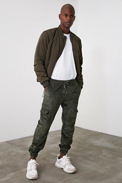 TRENDYOL MAN Haki Erkek Kadife Beli ve Paçası Lastikli Kargo Cepli Jogger  Pantolon TMNAW21PL0561