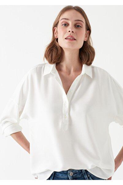 Mavi Kadın Beyaz Uzun Kollu Bluz