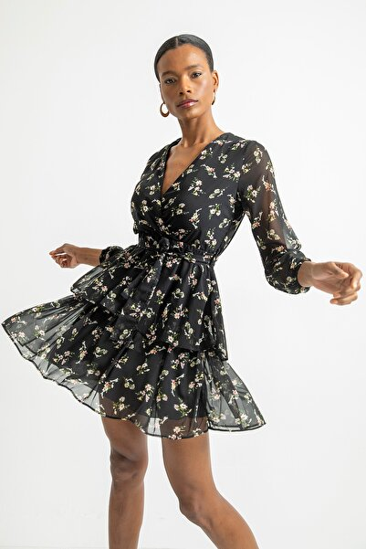 Foremia Kadın Siyah Çift Katlı Anvelop Elbise