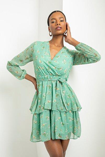 Foremia Kadın Yeşil Çift Katlı Anvelop Elbise