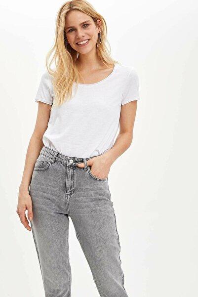 DeFacto Kadın Beyaz Pis Yakalı Kısa Kollu T-shirt K1508az.20sp.wt43