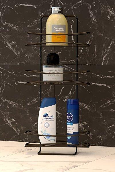 Teknotel Mat Siyah Üç Katlı Banyo Duş Rafı Bk006