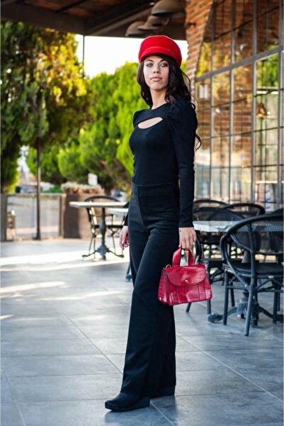 CNS Kadın Siyah Boru Paça Selanik Pantolon