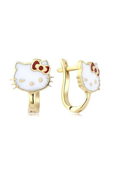 Hello Kitty Lisanslı Kız Çocuk Kırmızı 14 Ayar Altın Küpe