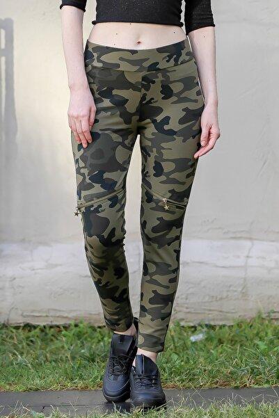 Chiccy Kadın Multi Casual Kamuflaj Diz Üstü Ve Beli Fermuar Detaylı Cepli Pantolon M10060000PN99048