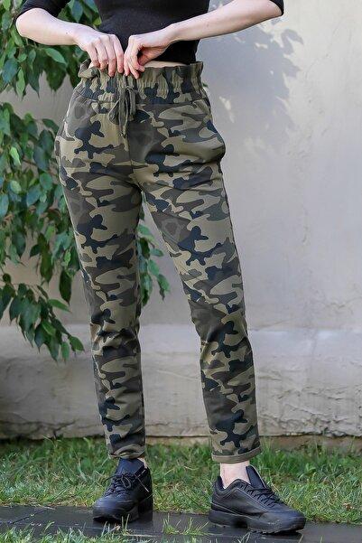 Chiccy Kadın Multi Casual Kamuflaj Desenli Beli Fırfır Lastikli Cepli Pantolon M10060000PN99046