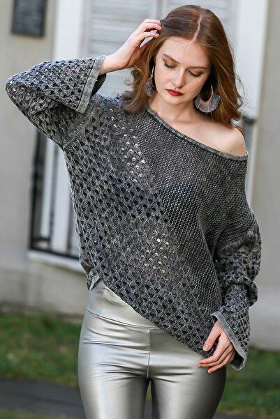Chiccy Kadın Füme Kayık Yaka Pirinç Ve Kafes Örgü Desen Bloklu Yıkamalı Triko Bluz M10010200BL95982