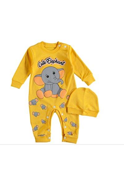 wow bebek Unisex Bebek Sarı Fil Baskılı Tulum