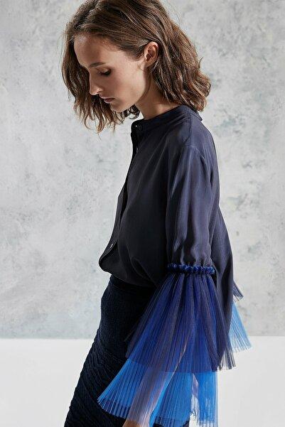 Yargıcı Kadın Lacivert Kol Detaylı Gömlek 0KKGM6051X