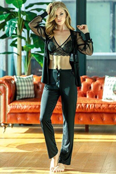 Anıl Kadın Siyah Dantelli Bralet Sabahlık Pantolon Takım 3'lü 4798