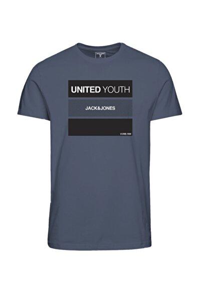 Jack & Jones Erkek Mavi Bisiklet Yaka T-shirt 12182307