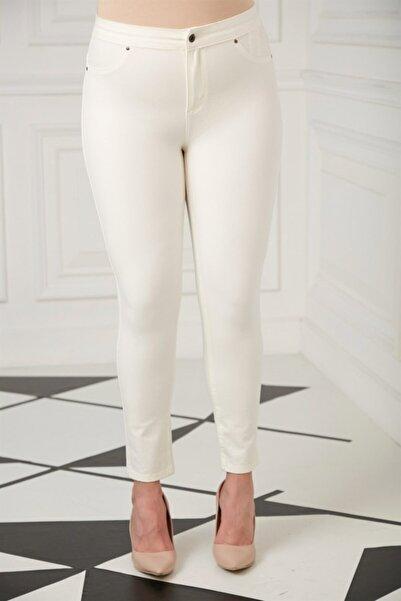 RMG Kadın Ekru Cep Detaylı Büyük Beden Pamuk Pantolon