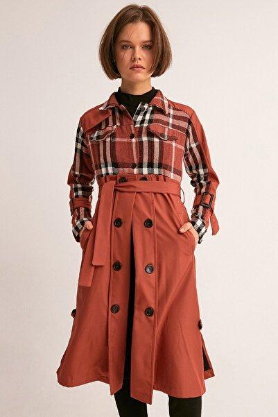 Fulla Moda Kadın Kiremit Önü Ekose Trençkot