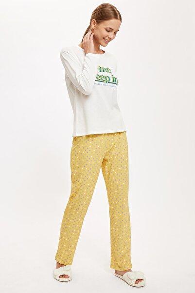 DeFacto Slogan Baskılı Uzun Kollu Pijama Takımı