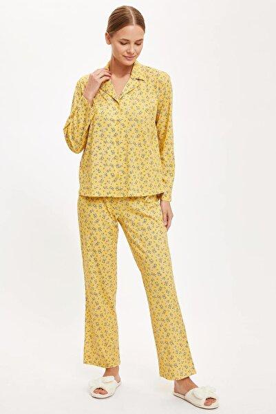 DeFacto Kadın Yellow Çiçekli Gömlek Tasarımlı Uzun Kollu Pijama Takımı S4930AZ20AU