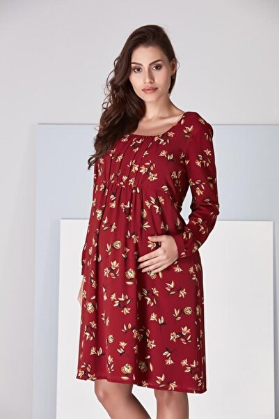 Entarim Kadın Bordo Hamile Elbise  5021