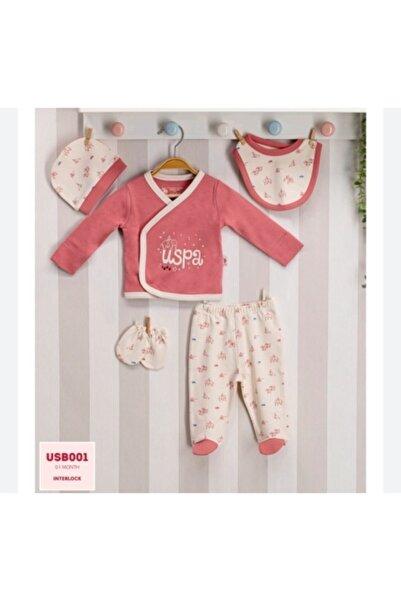U.S. Polo Assn. Kids U.s.polo.assn Baby Kız Bebek 5'li Gül Kurusu Yenidoğan Hastane Çıkış Set