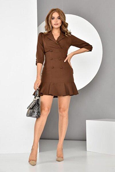 İroni Kadın Kahverengi  Volanlı Blazer Elbise
