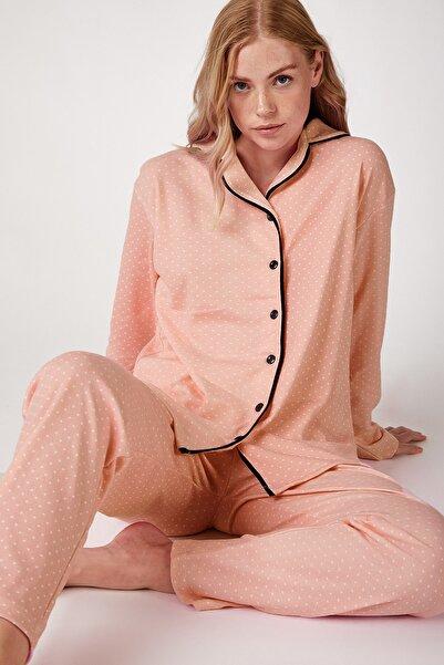 Happiness İst. Kadın Açık Somon Puantiyeli Örme Pijama Takımı GL00021