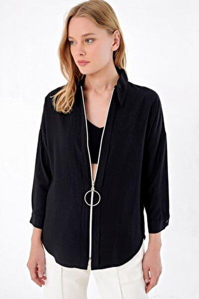 Kadın Siyah Bloklu Gömlek ALC-5490