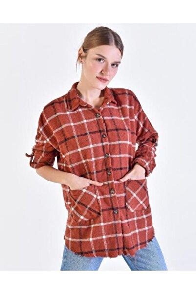 Vision Kadın Kiremit Ekoseli Gömlek