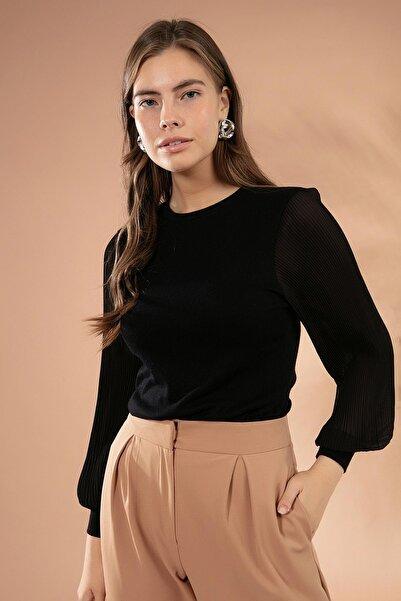 Y-London Kadın Siyah Kolları Şifon Piliseli Triko Kazak Y20W117-20285