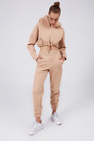Y-London Kadın Bej İçi Polarlı Crop Eşofman Takımı Y20W183-7048