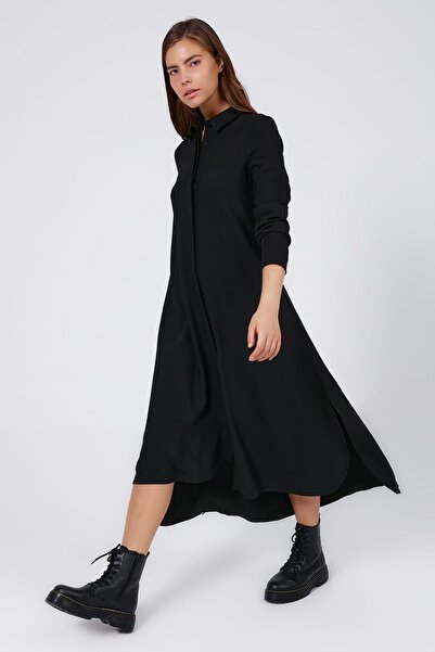 Y-London Kadın Siyah Gizli Düğmeli Yırtmaçlı Gömlek Elbise Y20W183-7052