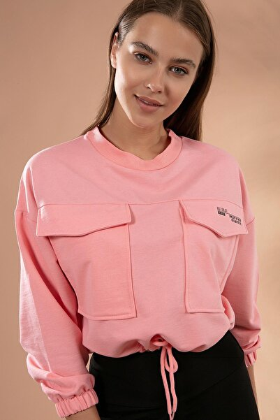 Y-London Kadın Pembe Cepli Beli Bağcıklı Crop Sweatshirt Y20W126-10341