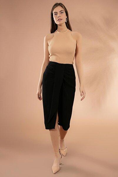 Y-London Kadın Siyah Drapeli Yırtmaçlı Kalem Etek Y20W181-8105