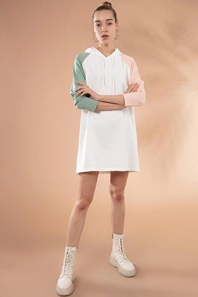 Y-London Kadın Beyaz Kapşonlu Örme Sweatshirt Elbise Y20W110-7224