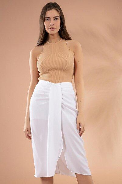 Y-London Kadın Beyaz Drapeli Yırtmaçlı Kalem Etek Y20W181-8105