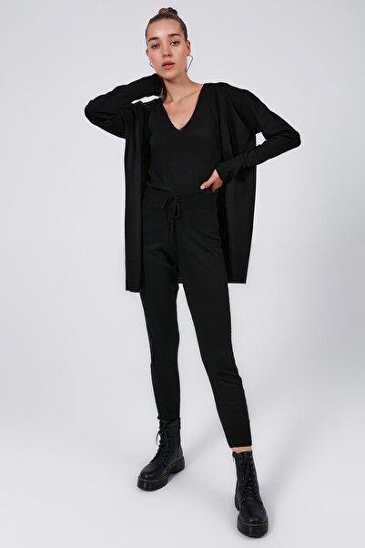 Y-London Kadın Siyah Askılı Bluz Uzun Kollu Hırka Pantolon 3'lü Triko Takım Y20W126-3401