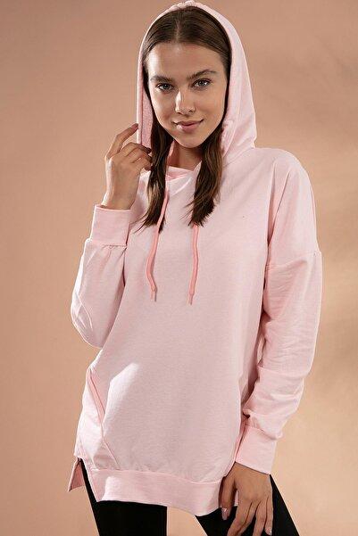 Y-London Kadın Pudra Basic Cep Detaylı Kapşonlu Sweatshirt Y20W126-10736
