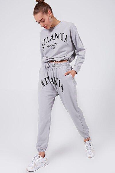 Y-London Kadın Gri Atlanta Baskılı İçi Polarlı Eşofman Takımı Y20W126-10742