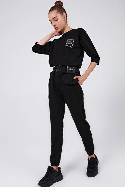 Y-London Kadın Siyah Bel Çantalı Jogger Eşofman Takımı Y20W182-8260