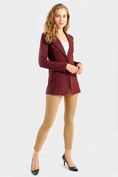 Jument Kadın Bordo Çizgi Kadın Çizgi Desenli Kışlık Uzun Kaşe Ceket-Bordo Çizgi 30027