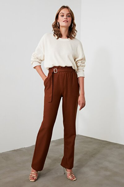 TRENDYOLMİLLA Kahverengi Kemerli  Pantolon TWOAW21PL0201