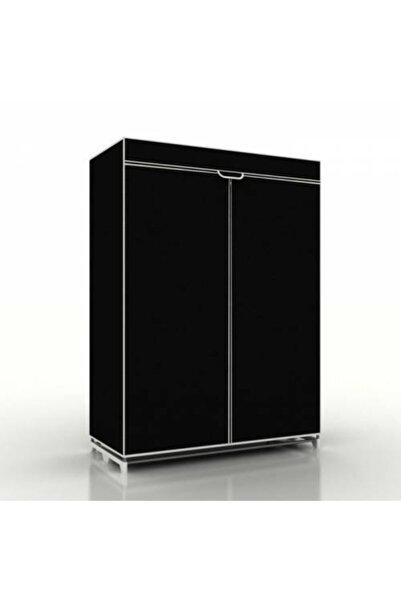 Burak Çelik Borulu Yedek Plastikli Siyah Bez Dolap Gardırop