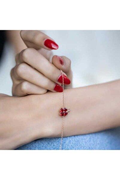Gumush Kadın Gümüş Kırmızı Kalpli Yonca Bileklik