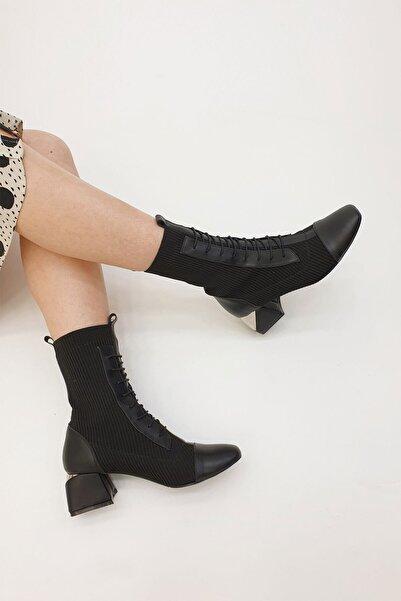 Marjin Larin Kadın Çorap Topuklu Botsiyah