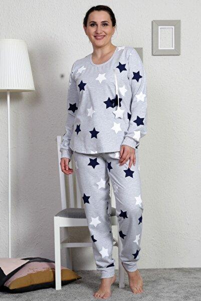 VİENETTA Kadın İndigo Uzun Kol Büyük Beden 2 Iplik Pijama Takım