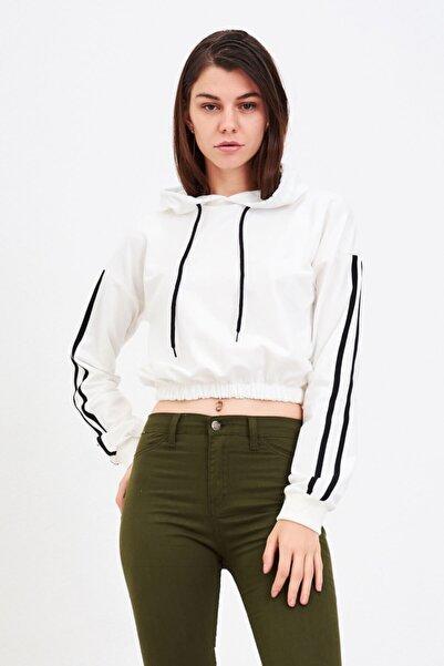 Mossta Kadın Beyaz Eteği Lastikli Sweatshirt