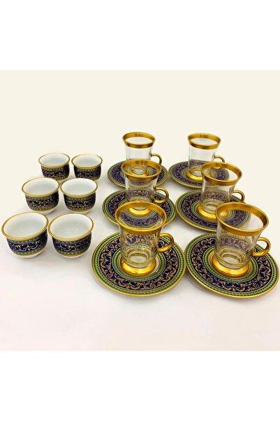 Paşabahçe 18 Parça Çay Ve Mırra Seti Altın Yaldızlı Katre