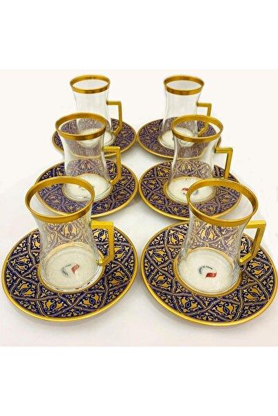 Paşabahçe Lacivert Altın Yaldızlı Nergis 12 Parça Çay Seti