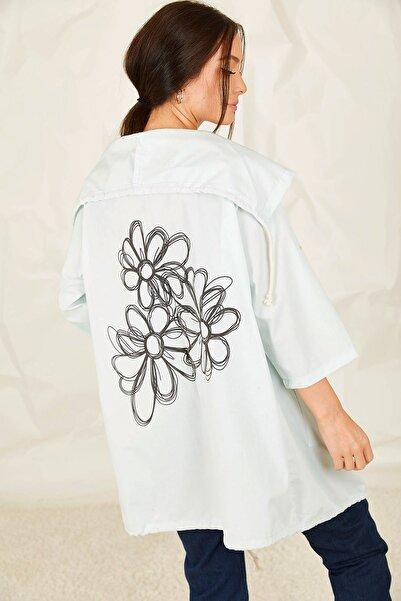 armonika Kadın Mint Sırtı Çiçek Baskılı Mevsimlik Ceket ARM-20K024030